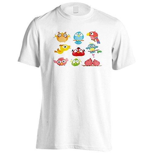 Handgezeichnete hübsch Vögel Sammlung lustig Herren T-Shirt b150m
