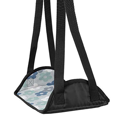 Preisvergleich Produktbild Flugzeug-Fuß-Hängematte Schreibtisch Fuß-Hängematte Reise Fußstütze Home Zubehör Beinstütze Blau Blumen Muster 01 Reise Fußstütze