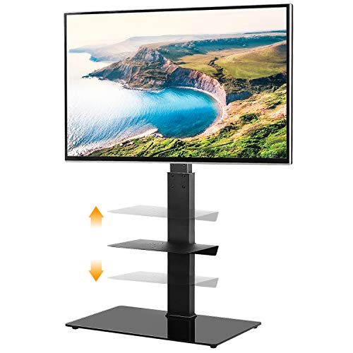 5Rcom Black TV Floor Stand with 2 Shelves for Most 32 37 42 47 50 55 60 65 inch Plasma LCD LED Flat or Curved Screen TVs with Swivel Mount and Height Adjustable