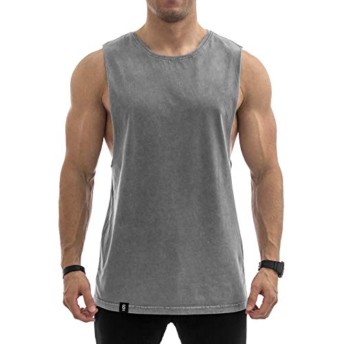 Sixlab Vintage Washed Cut Off Tank Top Herren Muskelshirt Gym Fitness (XXL, Grau)