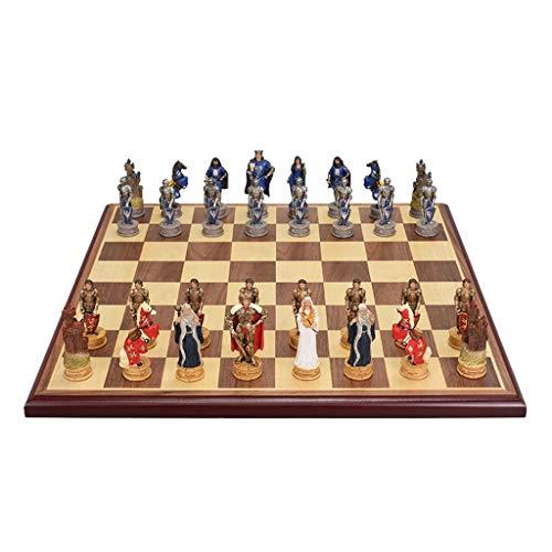 kiter Ajedrez Juego de ajedrez de Lujo Piezas de ajedrez de Resina de Resina MDF Tablero de ajedrez Retro Driso de Escritorio Entretenimiento Juegos de ajedrez Regalo Juego de Ajedrez