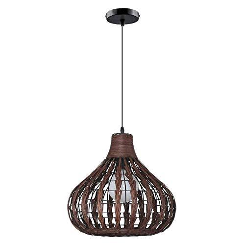 Fltaheroo Lámpara de bambú natural Lámpara de mimbre de mimbre de bricolaje Sombras Tejido la luz colgante no contiene bombillas