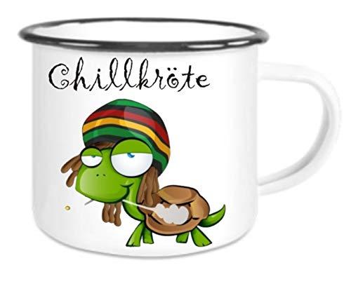 XXL - Emaille Tasse mit Rand Chillkröte - große Kaffeetasse mit Motiv, Campingtasse Bedruckte Email-Tasse mit Sprüchen oder Bildern