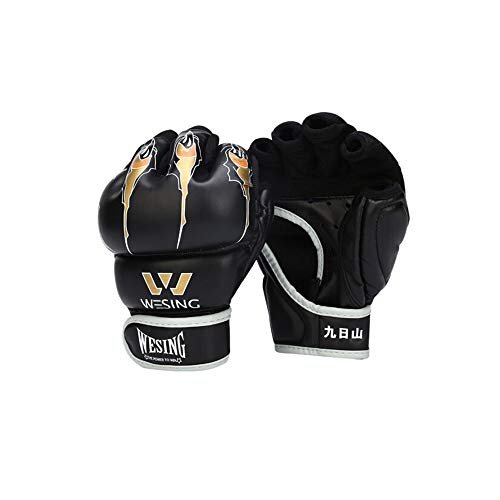 HENGXIANG Halbfinger-Boxhandschuhe für Erwachsene, Sanda, Kampfsport, Boxhandschuhe, Taekwondo-Sandsäcke und Sandsäcke, Schwarz, 7oz