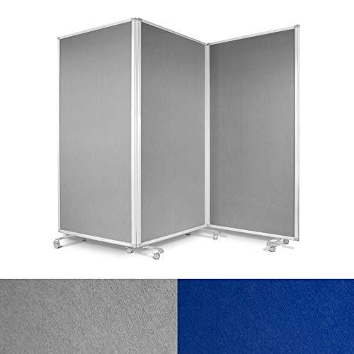 Präsentationswand mobil & faltbar - 3-teilige Pinnwand auf feststellbaren Rollen - auch als Trennwand & Raumteiler - Stellwand Büro mit strapazierfähiger Filzoberfläche (grau, 270 x 35 x 180 cm)