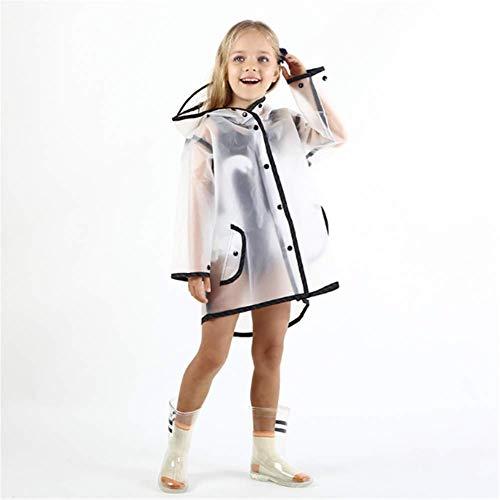 ZXL Transparenter wasserdichter Kinder Regenmantel Eva Regenmantel Mädchen Poncho Kindergarten Kinder Baby Regenbekleidung Regenanzug,Black,L