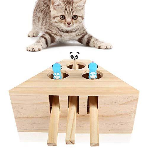AMAZOIN Katze Spielzeug Interaktive Maus Whack EIN Maulwurf Maus Feste Holz Puzzle Box Katze Übung Spielzeug mit Niedlichen Cartoon Spielzeug für Katze Kätzchen Jagd Spielen Kratzen Biss