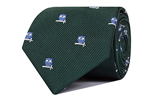 CARLO VISCONTI - Corbata de Hombre - Motivo Búho - Verde y Celeste - Tejido Jacquard 100% Seda Natural - Forro de Lana y Algodón - Corbata de Hombre Original - Regalo para Caballeros