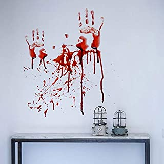 Holly LifePro Party Supplies Blood Footprint Halloween Removable Decal Wall Sticker for Bar Living Room Home Party Window ...