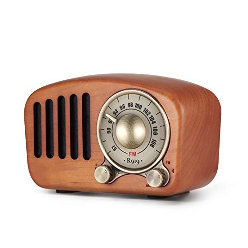 GXYNB Vintage Retro de la Radio de Bluetooth Speaker-Greadio Nuez de Madera de Radio FM con Estilo Antiguo, bajo Fuerte, Volumen Alto, Bluetooth 4.2, Tarjeta de TF y AUX