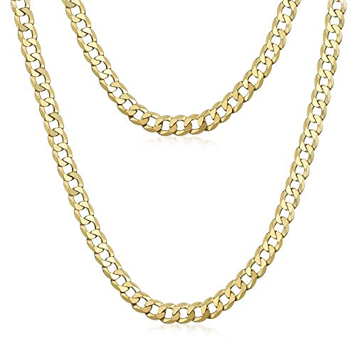 Amberta Men's 925 Sterling Silver Flat Curb Chain Necklace (5 mm Thick): 18K Gold Plated - Length 26 inch