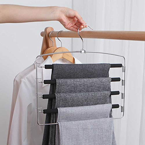 Pant Hanger, Multi-Function Pants Hangers Scarf Towel Rack Hanger Closet Organizer Space, Housekeeping Organizers Accessories Home 4th of July Decorations Gifts