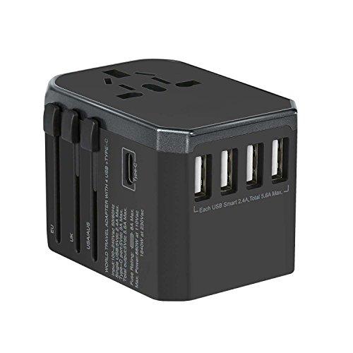tellaLuna Adaptador de corriente de pared internacional en todo el mundo con 5.6A Power USB y 3.0A USB Type-C para USA EU UK Reino Unido AUS Telefono celular Tablet Laptop