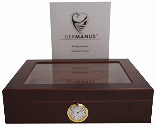 GERMANUS Sigari Humidor Mensalla Con Igrometro e Umidificatore e GERMANUS Manuale Marrone Scuro