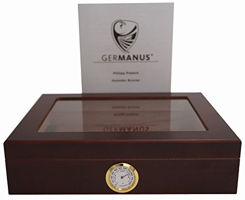 GERMANUS Sigari Humidor'Mensalla' Con Igrometro e Umidificatore e GERMANUS Manuale Marrone Scuro