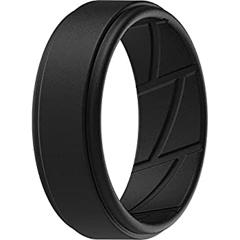 ThunderFit Silicone Wedding Ring for Men - 1 Ring  Black 9.5 - 10  19.8mm
