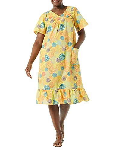 AmeriMark Women's Casual Print Sun Dress - House Dress with Front Patch Pockets Sunshine MP