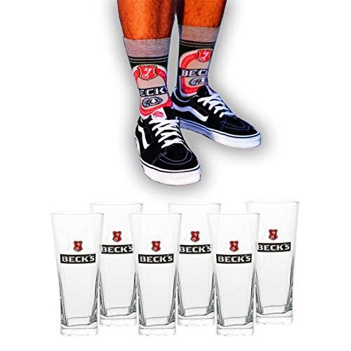 Beck's Fanset mit 0,3 L Biergläser [6er Set] und Socken - Original Becks Bier Gläser für Gastronomie & Sammler - Glas - Spülmaschinenfest - NEU…