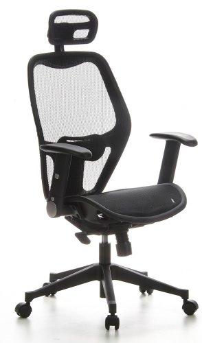 hjh OFFICE Sedia da ufficio/Sedia girevole AIR-PORT tessuto nero