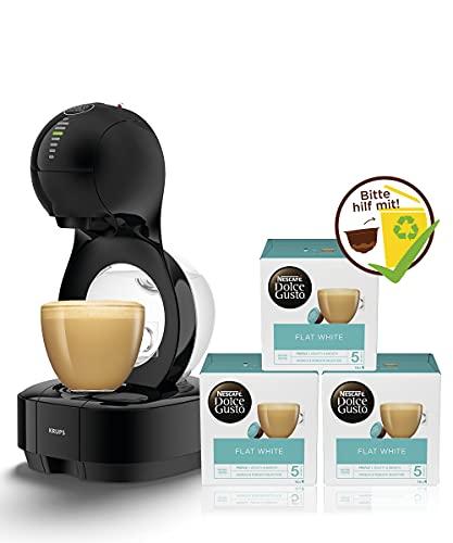 Krups Nescafé Dolce Gusto Lumio KP1308 Kapsel Kaffeemaschine (XL-Kaffee Funktion) schwarz + NESCAFÉ Dolce Gusto Flat White | 48 Kaffeekapseln | Aromaversiegelte Kapseln | 3er Pack (3 x 16 Kapseln)
