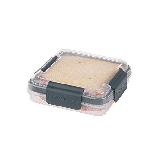 SnapLock by Progressive Sandwich To-Go Container - Gray Easy-To-Open Leak-Proof Silicone Seal Snap-Off Lid Stackable BPA FREE