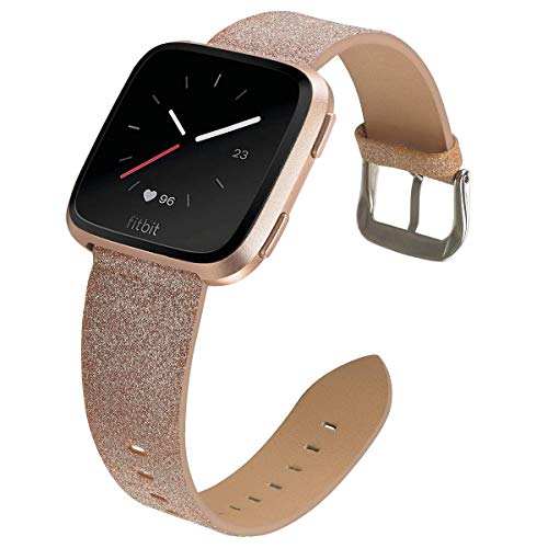 EPHIIONIY MEFEO Bling Bands Compatible for Fitbit Versa/Versa 2/Fitbit Versa Lite/Versa SE, Sparkly Leather Band Glitter Strap Wristband Replacment for Fitbit Versa Band Women