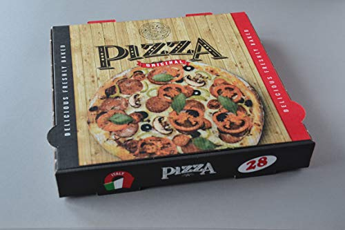 100 Stück Pizzakartons (32×32×4cm) mit Pizzamotiv Pizzaboxen Pizzaschachteln Pizzaverpackung…
