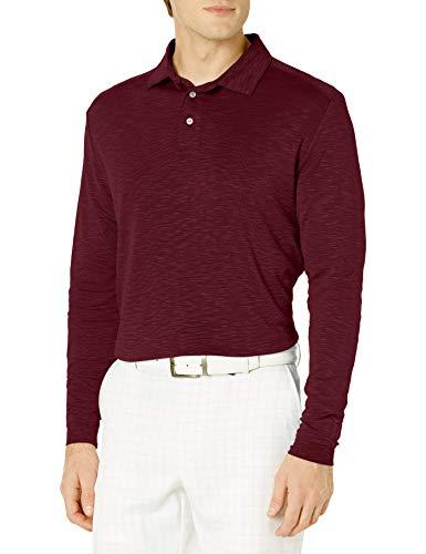PGA TOUR Herren Long Sleeve Slub Polo Shirt Golfhemd, Feige, X-Large