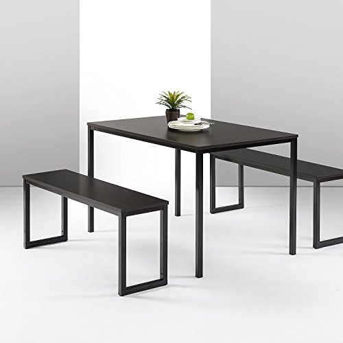 Zinus Louis Modern Studio Collection Soho Dining Table with Two Benches (3 piece set) - Espresso