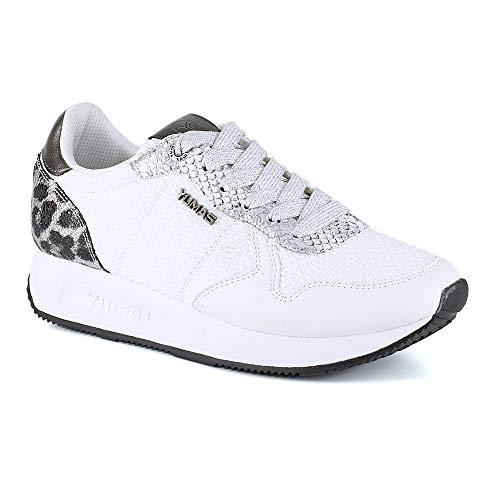 Zapatilla Sneaker Yumas Regina Blanco Fabricado en Piel Serraje y Nylon Plantilla Confort Látex para Mujer