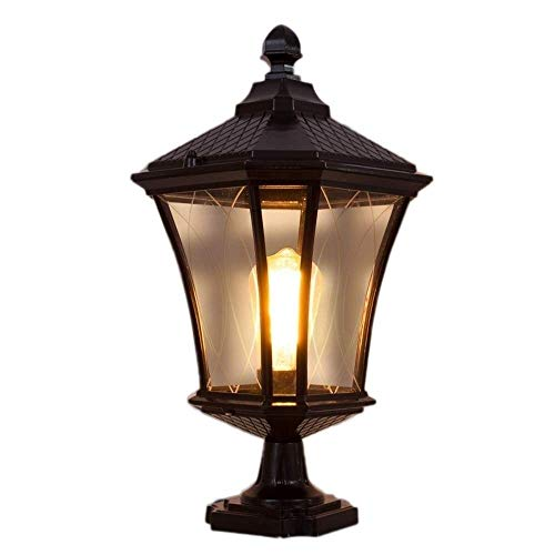 YANGYUAN E27 Esterna del Percorso della Luce, Illuminazione del Giardino/Luci/Lampade/Lanterna, Dorato Fusion d'alluminio, Paletto Luminoso Vintage, Antique Lamp Post Giardino Esterno Luce