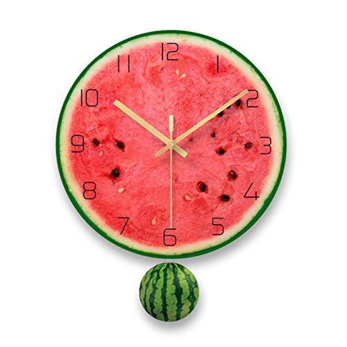 zhmku Reloj de Pared Sala de Estar Cocina Restaurante Dormitorio Estudio Oficina niños niños niñas nórdico Creativo Fruta impresión Simple Mudo decoración 30 * 38 cm