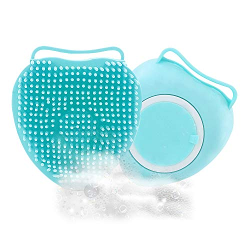 【2PCS】Dog Bath Brush, Suhleir Dog Shampoo Brush, Soft Silicone Pet Brushes For Dogs, Soap and Shampoo Dispenser for Daily Grooming, Dog Washing Brush for Long Short Haired Dogs and Cats. (Blue)