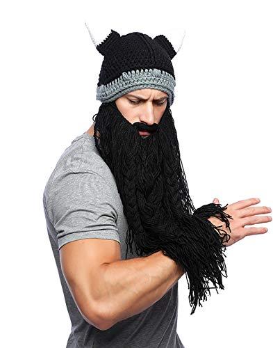 Xsayjia Gorro Invierno Hombre Mujeres el Original Barbarian Knit Barba Sombrero Vikingo Divertido Tejido Caliente máscara Barba para la Fiesta de Halloween Cosplay de Navidad