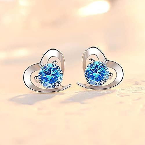 RSHJD 925 Sterling Silver Love Heart Shape Pendientes Simple Diamond Muy Adecuado como un Regalo para su Novia,Azul
