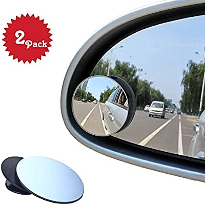 Blind Spot Mirrors Round HD Glass Self Adhesive Adjustable Convex Mirror Adjustable Great for Car SUV Truck Van 2 Pack