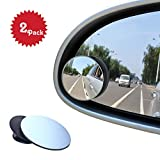 BEEWAY Blind Spot Mirrors, Round Frameless 360° Rotate Sway Adjustable HD Glass Convex