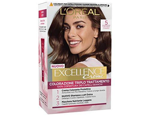L'Oréal Paris Excellence Crema Colorante Triplo Trattamento Avanzato, 5 Castano Chiaro, 1 Pacco