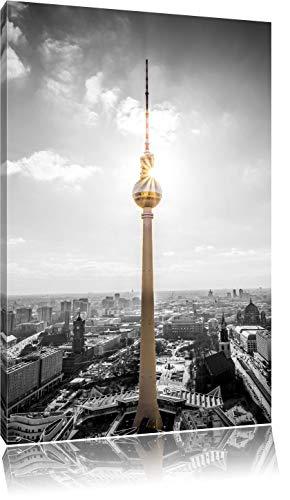 Berliner Fernsehturm am späten Nachmittag schwarz/weiß Format: 100x70 auf Leinwand, XXL riesige Bilder fertig gerahmt mit Keilrahmen, Kunstdruck auf Wandbild mit Rahmen, günstiger als Gemälde oder Ölbild, kein Poster oder Plakat
