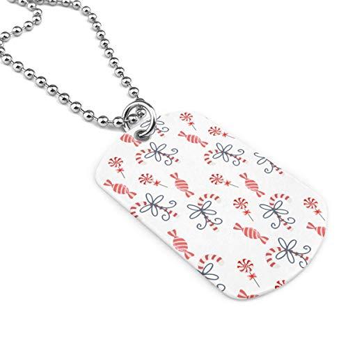 90ioup - Collar de acero inoxidable con colgante de bastones de caramelo de Navidad