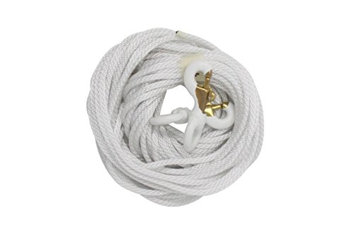 1/4' Diameter x 50' Length White Flagpole Polypropylene Halyard and Pair of 3 Inch White Rubber Coated Brass Swivel Snap - Flagpole Rope Set