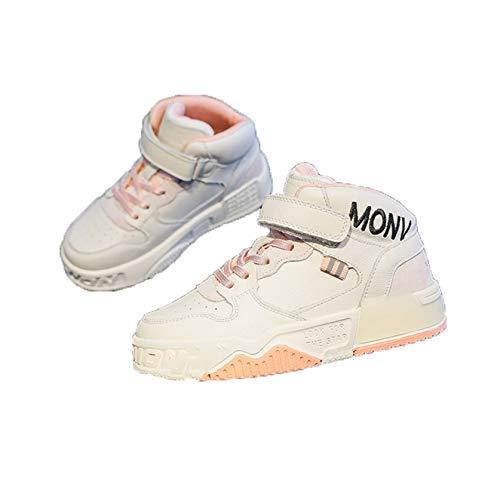 Calzado Deportivo para niños otoño e Invierno de Cuero de caña Alta más Terciopelo Calzado Deportivo cálido cómodo Antideslizante Zapatos Planos Resistentes al Desgaste Zapatos Escolares