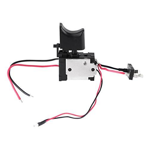 Akozon Interruptor de taladro eléctrico, 7.2V-24V Batería de litio Taladro inalámbrico Control de velocidad Interruptor de disparo con luz pequeña