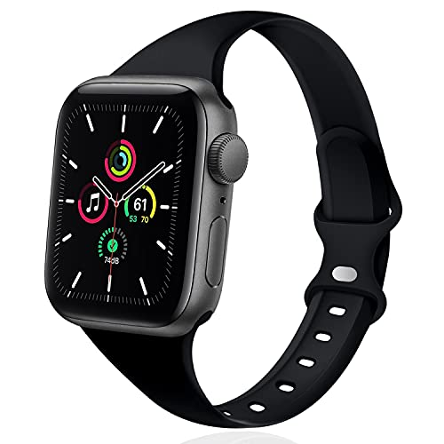 DYKEISS Sport Slim Silicone Band Compatible for Apple Watch Band 38mm 42mm 40mm 44mm, Thin Soft Narrow Replacement Strap Wristband for iWatch Series 5/4/3/2/1 Women & Men (Black, 38mm/40mm)