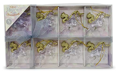 Pack of 8 Hanging Magical Enchanted Unicorn Christmas Tree Decorations 6.5cm (Crystal Clear, Gold Glitter)