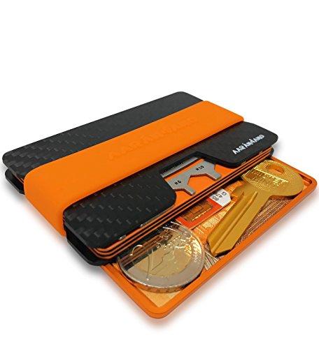 ORANGE Edition AARÁNDANO™ Carbon Slim-Wallet mit orangener CoinCard - Kredikartenetui mit Münzfach und Geldklammer - RFID/NFC - Schutz Etui