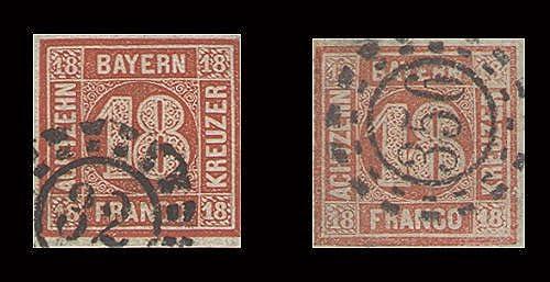 Goldhahn Bayern Nr. 13a+b gestempelt Briefmarken für Sammler