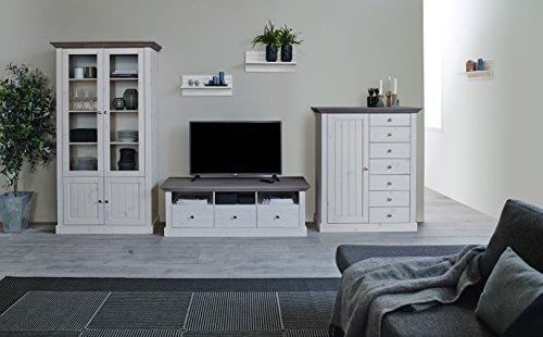 Steens 7317012269001F Monaco Wohnwand, Kiefer massiv, circa 355 x 190 x 56 cm, weiß / grau lasiert - 2