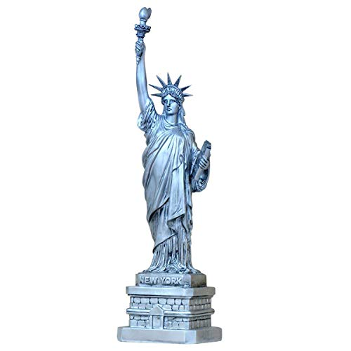 LKXHarleya New York Statua Della Libertà Modello Statua Della Libertà Statuetta Per Souvenir Ornamenti In Resina, Argento, 31 cm