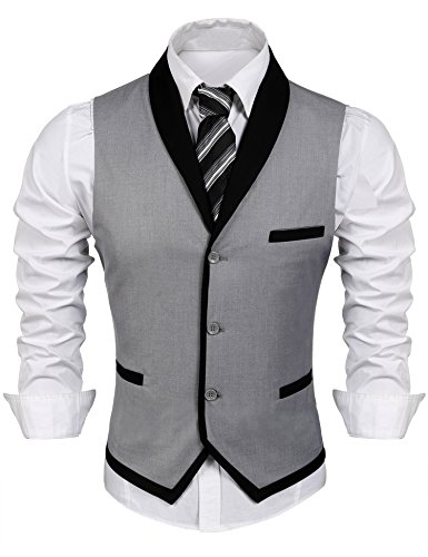 COOFANDY Men's V-Neck Sleeveless Slim Fit Vest,Jacket Business Suit Dress Vest, Grey, X-Large(Chest: 47.2'')